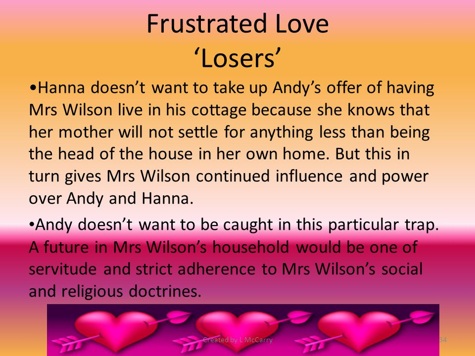 Frustrated Love 'Losers' We know that Andy and Hanna's relationship is doomed as soon as Andy reveals that he was persuaded to live in Mrs Wilson's house.