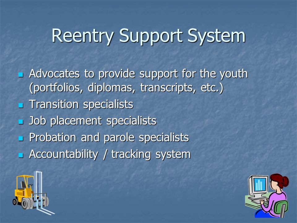 Reentry Support System Advocates to provide support for the youth (portfolios, diplomas, transcripts, etc.) Advocates to provide support for the youth