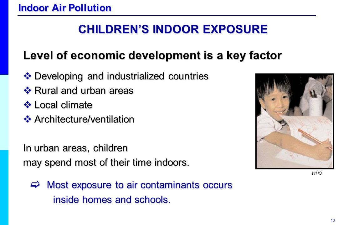 Indoor Air Pollution 10 CHILDREN'S INDOOR EXPOSURE Level of economic development is a key factor  Developing and industrialized countries  Rural and
