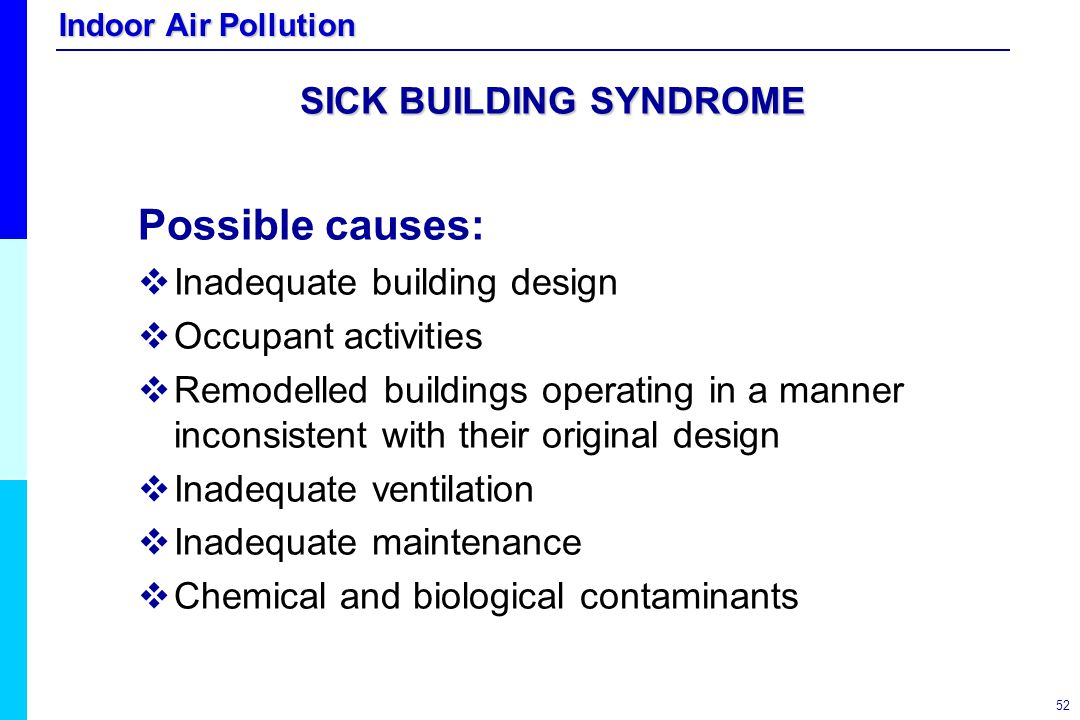 Indoor Air Pollution 52 SICK BUILDING SYNDROME Possible causes:   Inadequate building design   Occupant activities   Remodelled buildings operat