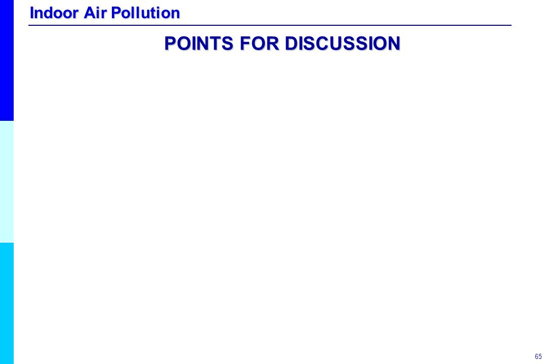 Indoor Air Pollution 65 POINTS FOR DISCUSSION