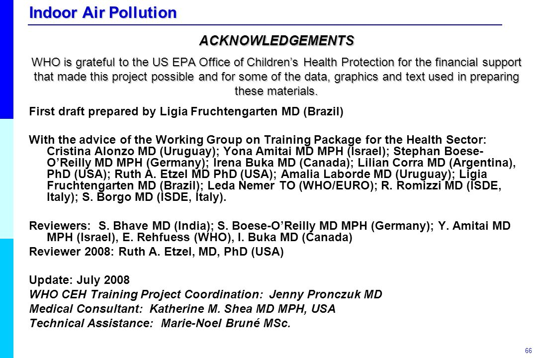 Indoor Air Pollution 66 First draft prepared by Ligia Fruchtengarten MD (Brazil) With the advice of the Working Group on Training Package for the Heal