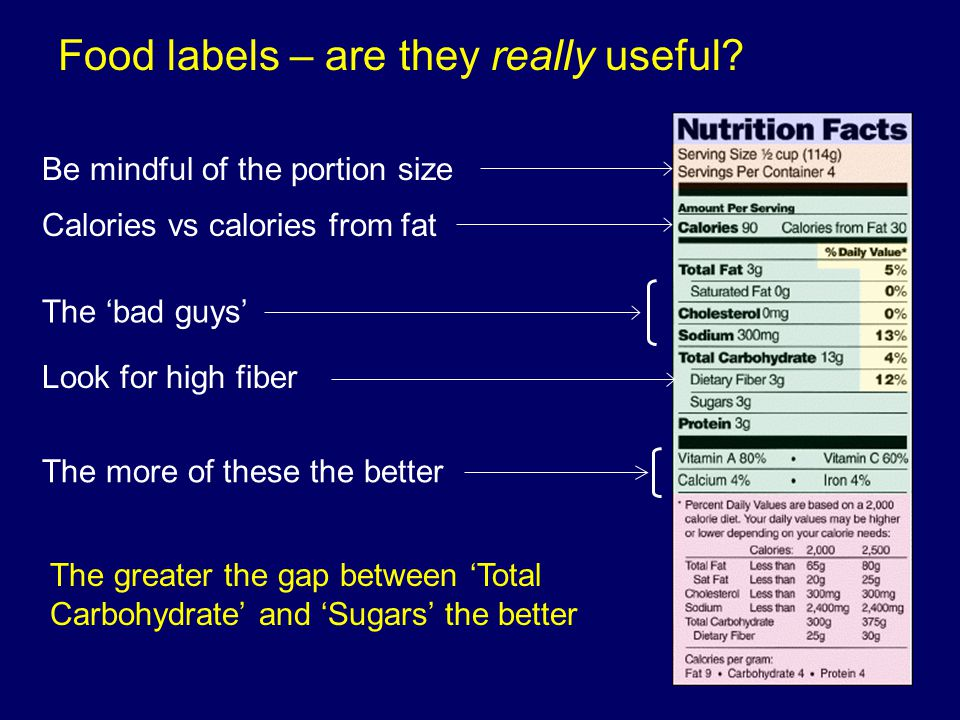 Food labels – are they really useful? Be mindful of the portion size Calories vs calories from fat The 'bad guys' The more of these the better Look fo