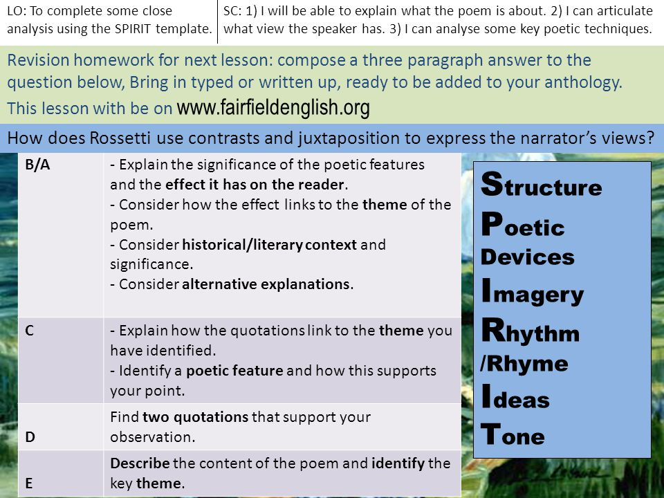Grade B/A- Explain the significance of the poetic features and the effect it has on the reader. - Consider how the effect links to the theme of the po