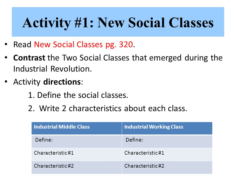 Activity #1: New Social Classes Read New Social Classes pg. 320. Contrast the Two Social Classes that emerged during the Industrial Revolution. Activi