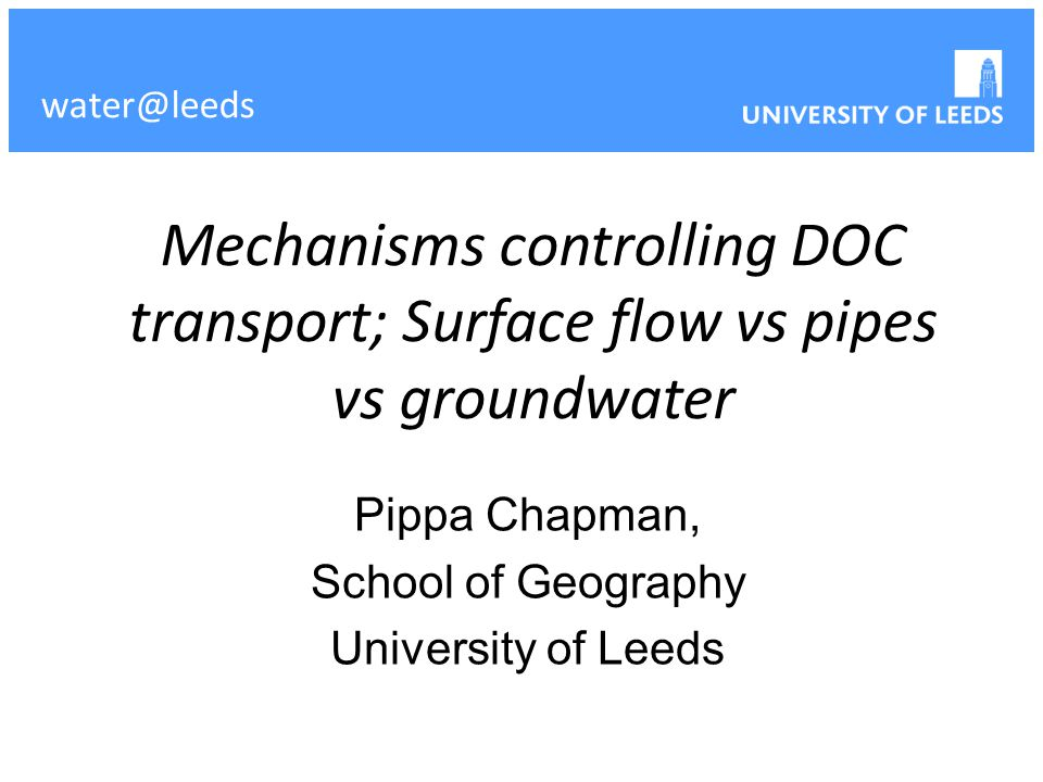 Mechanisms controlling DOC transport; Surface flow vs pipes vs groundwater Pippa Chapman, School of Geography University of Leeds water@leeds