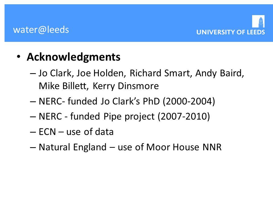 water@leeds Acknowledgments – Jo Clark, Joe Holden, Richard Smart, Andy Baird, Mike Billett, Kerry Dinsmore – NERC- funded Jo Clark's PhD (2000-2004)