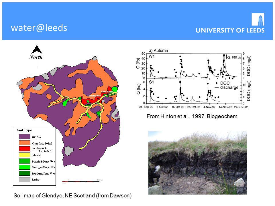 water@leeds Soil map of Glendye, NE Scotland (from Dawson) From Hinton et al., 1997. Biogeochem.