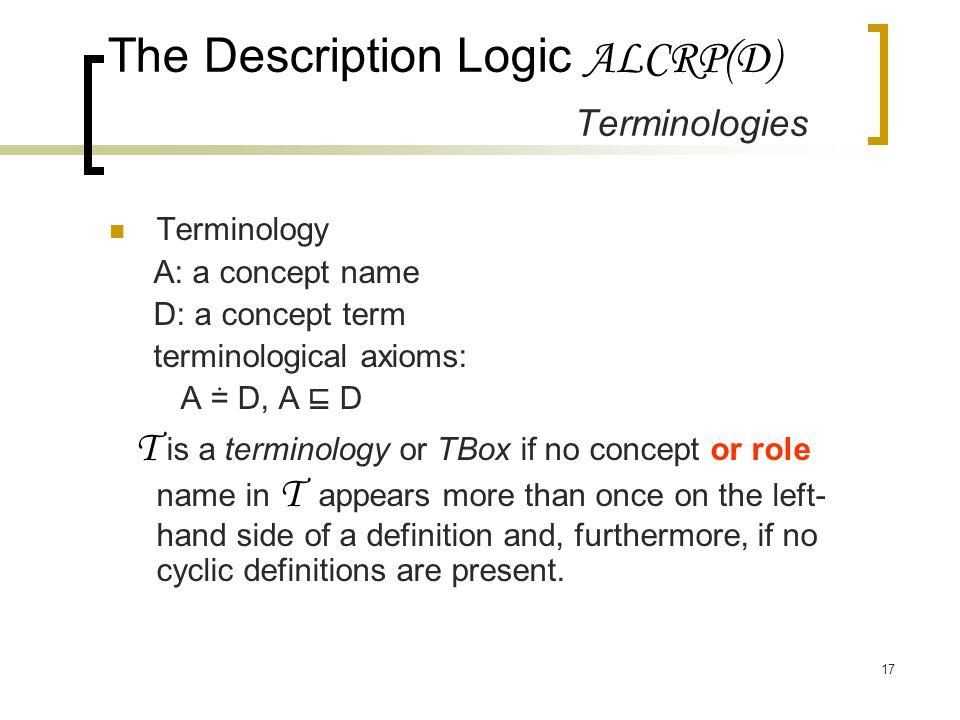 17 The Description Logic ALCRP(D) Terminologies Terminology A: a concept name D: a concept term terminological axioms: A ≐ D, A ⊑ D T is a terminology