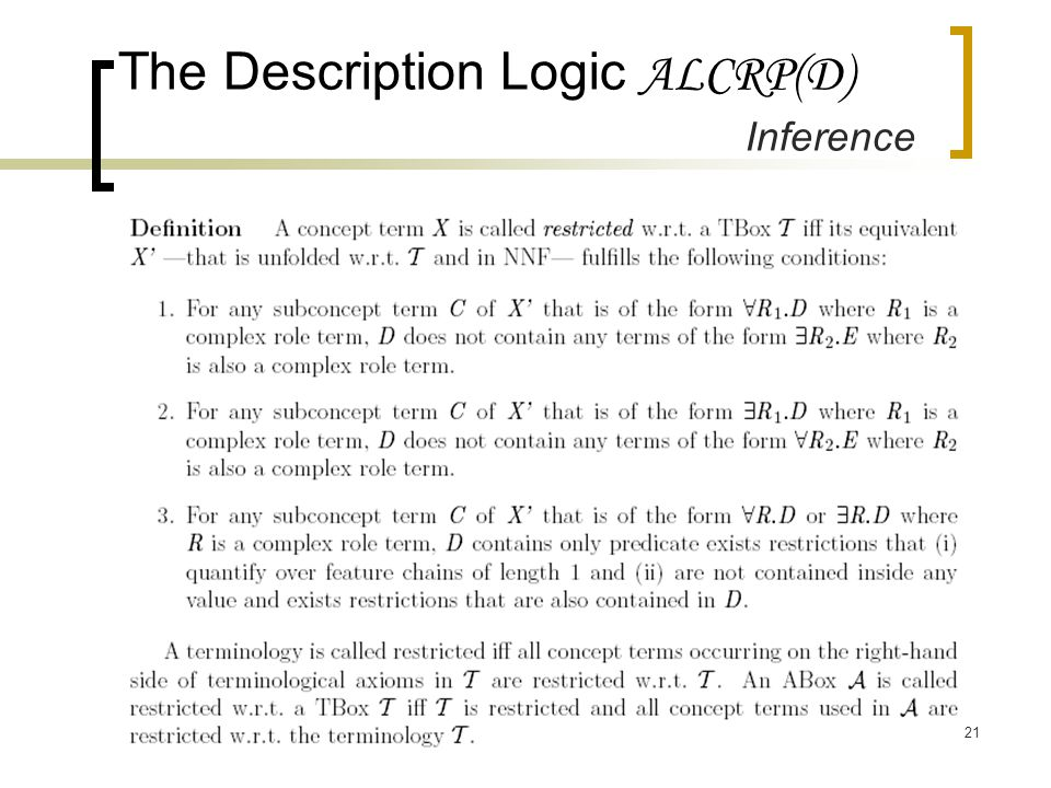 21 The Description Logic ALCRP(D) Inference