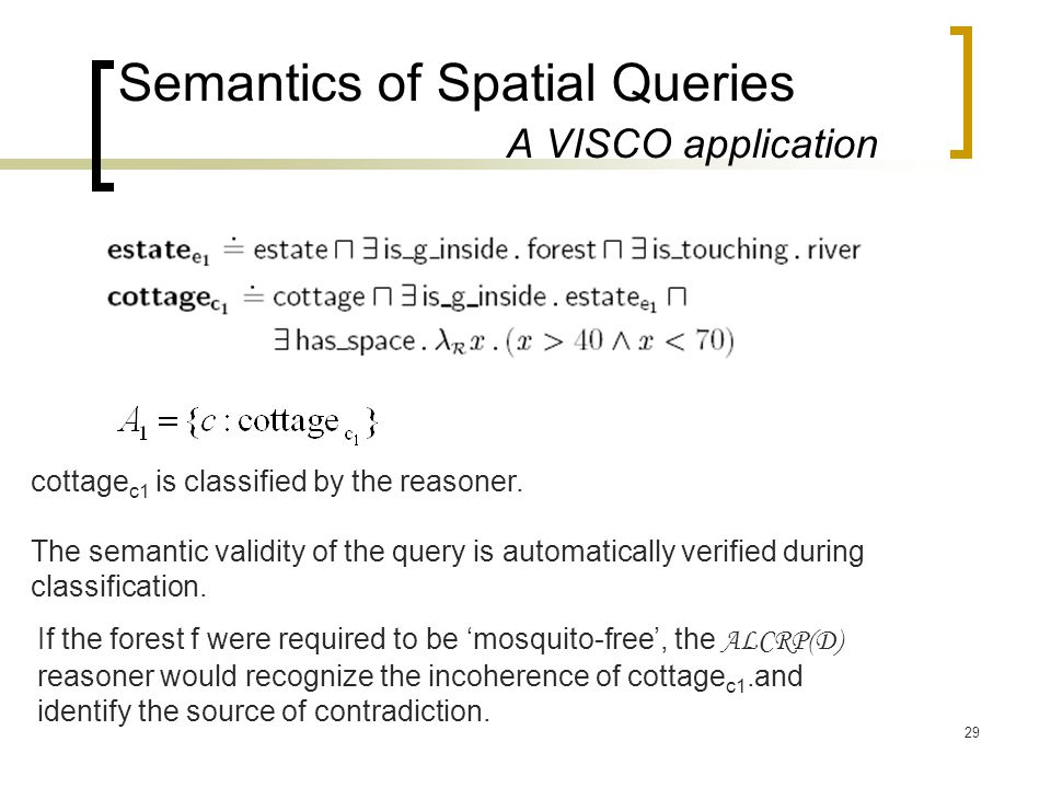 29 Semantics of Spatial Queries A VISCO application cottage c1 is classified by the reasoner. The semantic validity of the query is automatically veri