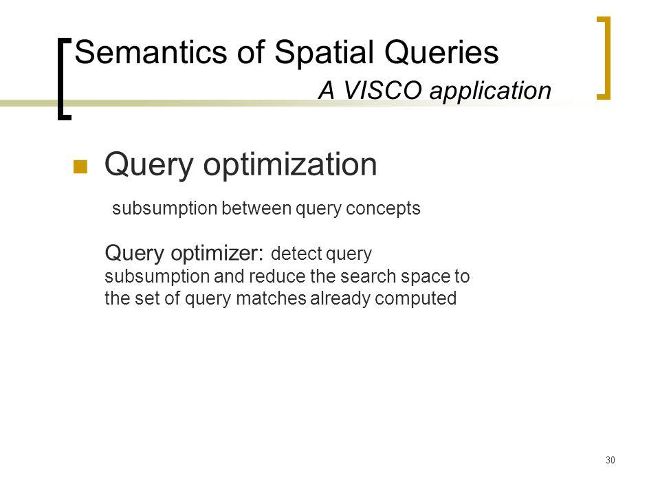 30 Semantics of Spatial Queries A VISCO application Query optimization subsumption between query concepts Query optimizer: detect query subsumption an