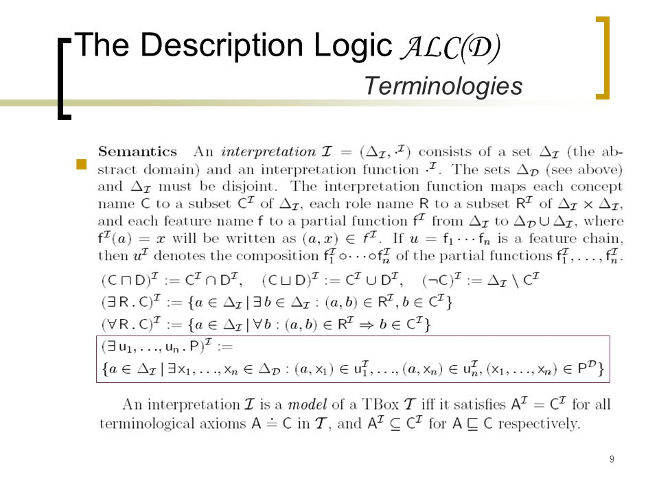 9 The Description Logic ALC(D) Terminologies Semantics