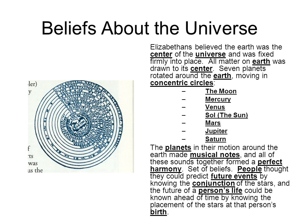 Beliefs About the Universe Elizabethans believed the earth was the center of the universe and was fixed firmly into place. All matter on earth was dra