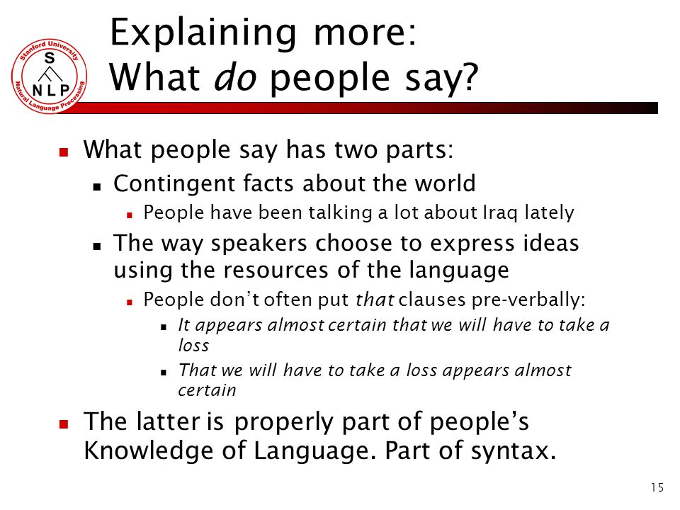 15 Explaining more: What do people say.