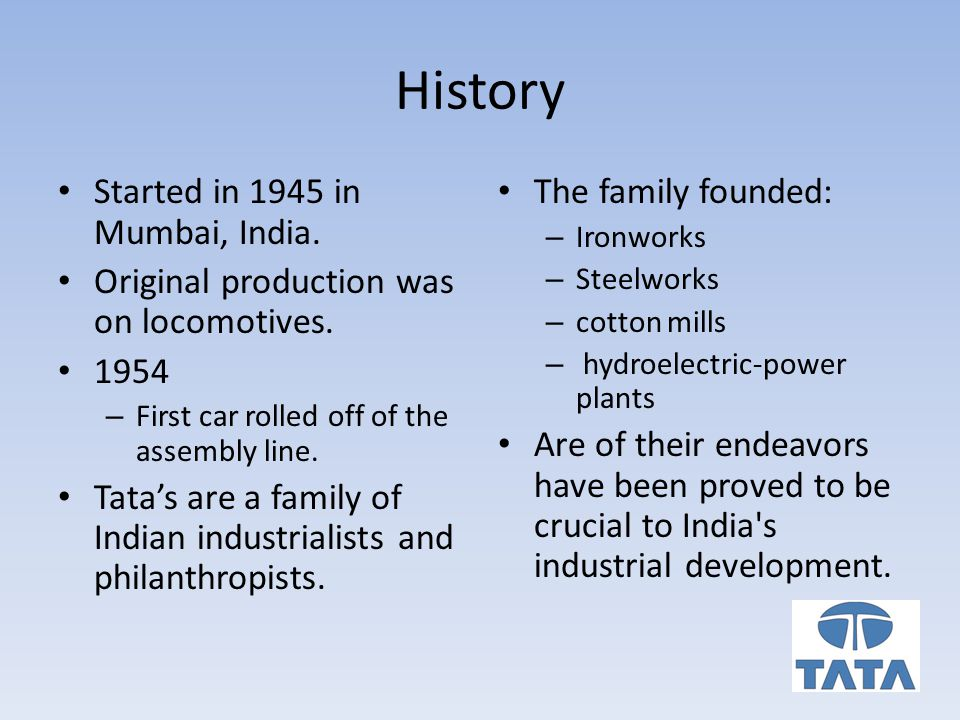 History Started in 1945 in Mumbai, India. Original production was on locomotives.