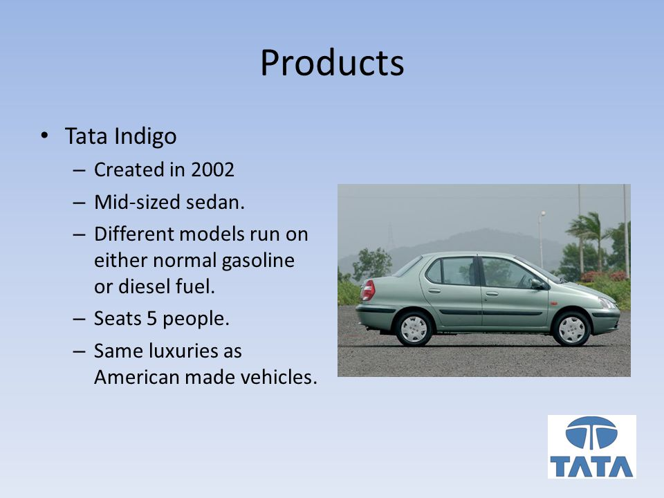 Products Tata Indigo – Created in 2002 – Mid-sized sedan.