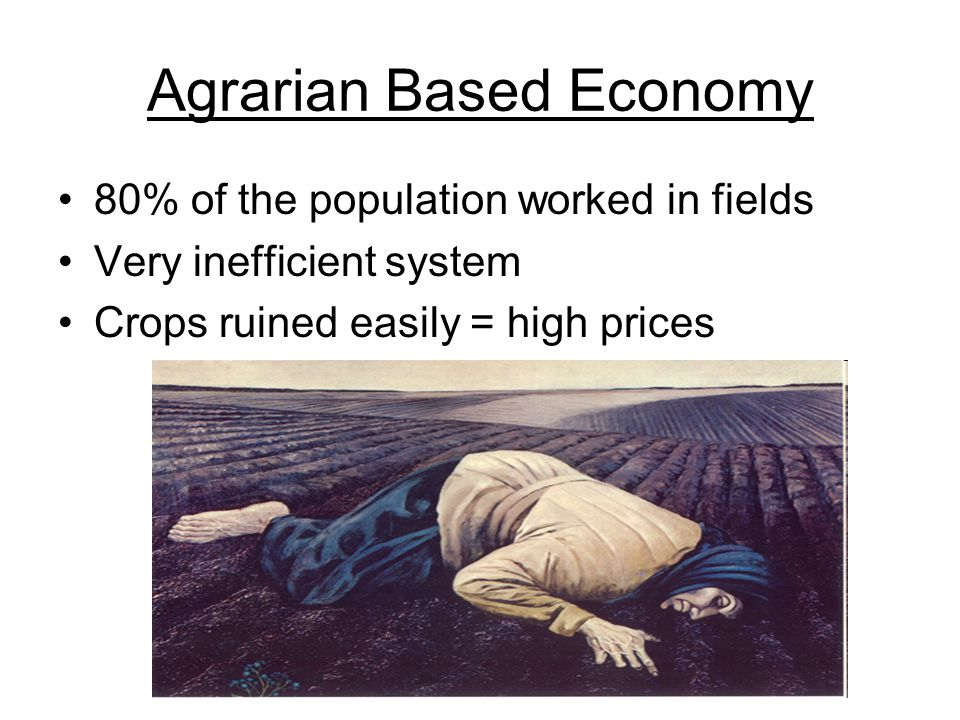 Agrarian Based Economy 80% of the population worked in fields Very inefficient system Crops ruined easily = high prices