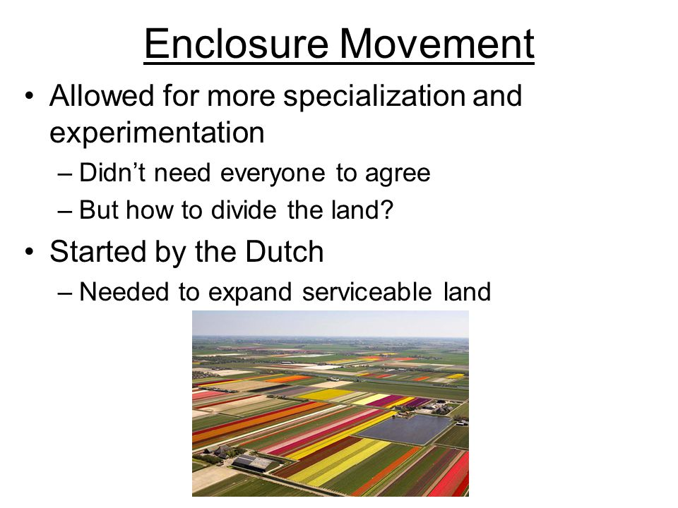 Enclosure Movement Allowed for more specialization and experimentation –Didn't need everyone to agree –But how to divide the land? Started by the Dutc