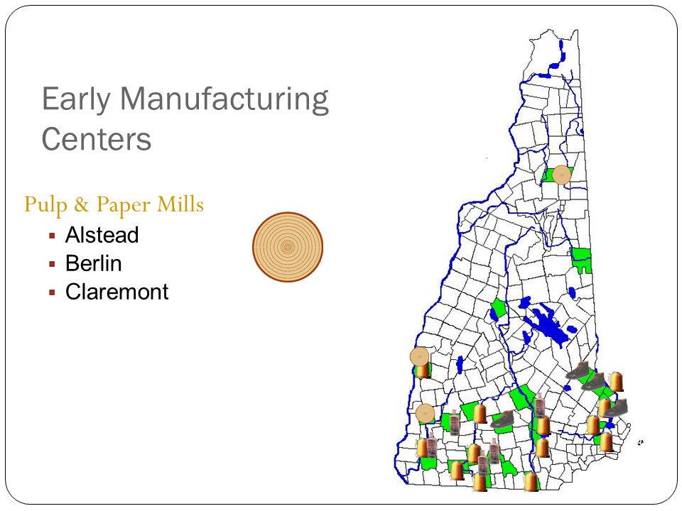 Early Manufacturing Centers Pulp & Paper Mills  Alstead  Berlin  Claremont
