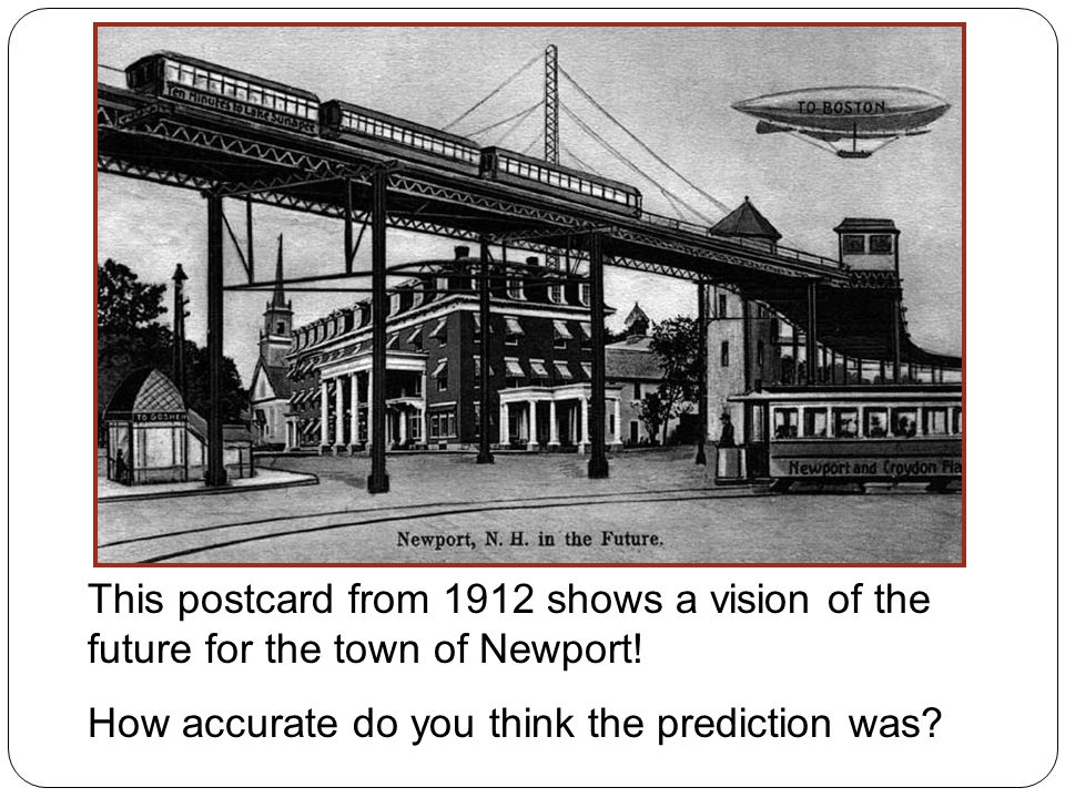 This postcard from 1912 shows a vision of the future for the town of Newport.