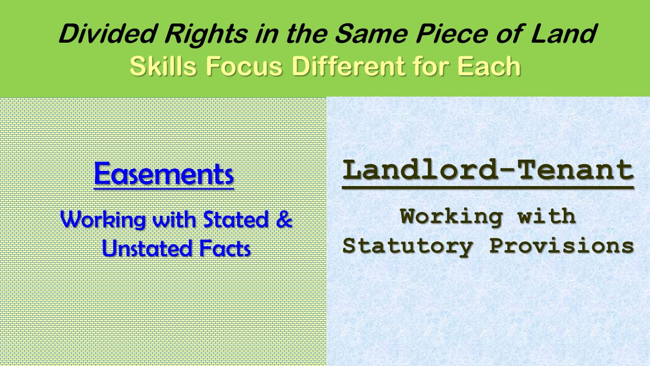 Skills Focus Different for Each Divided Rights in the Same Piece of Land Skills Focus Different for EachEasements Working with Stated & Unstated Facts