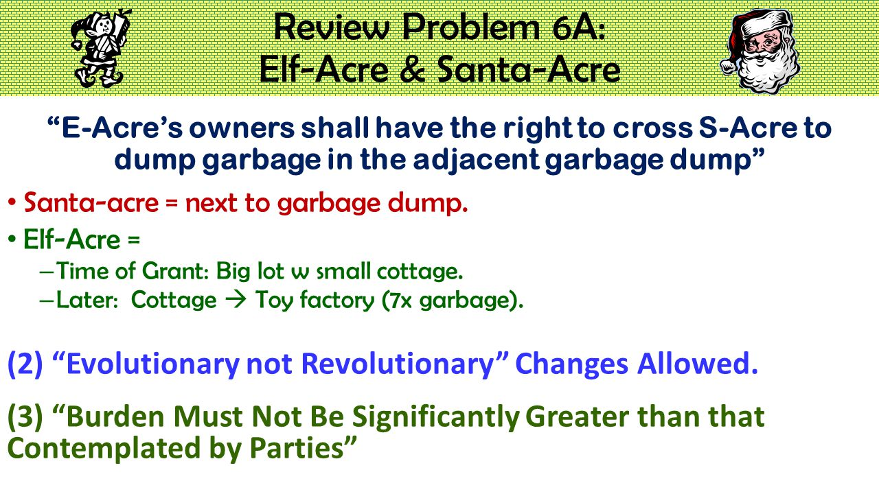 """Review Problem 6A: Elf-Acre & Santa-Acre """"E-Acre's owners shall have the right to cross S-Acre to dump garbage in the adjacent garbage dump"""" Santa-acr"""