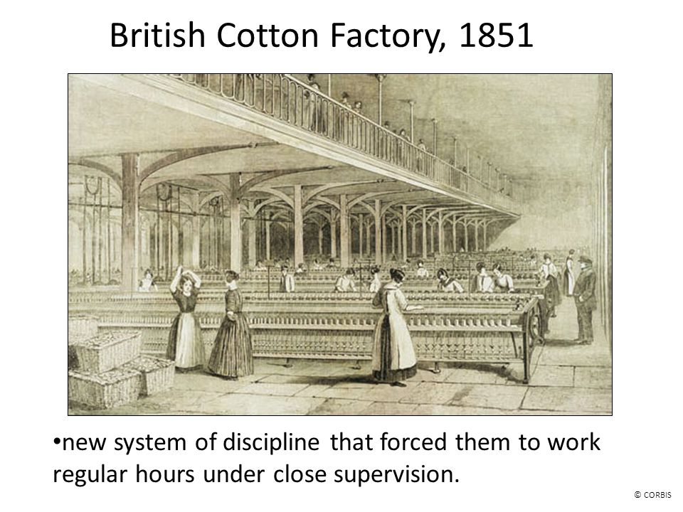 British Cotton Factory, 1851 new system of discipline that forced them to work regular hours under close supervision. © CORBIS