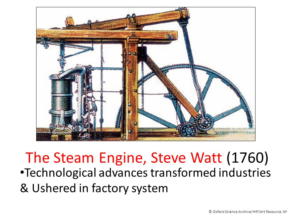 The Steam Engine, Steve Watt (1760) Technological advances transformed industries & Ushered in factory system © Oxford Science Archive/HIP/Art Resourc