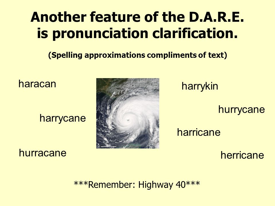 Another feature of the D.A.R.E. is pronunciation clarification.