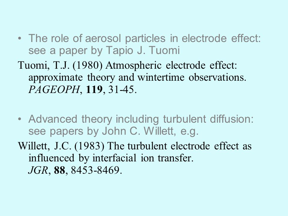 The role of aerosol particles in electrode effect: see a paper by Tapio J.