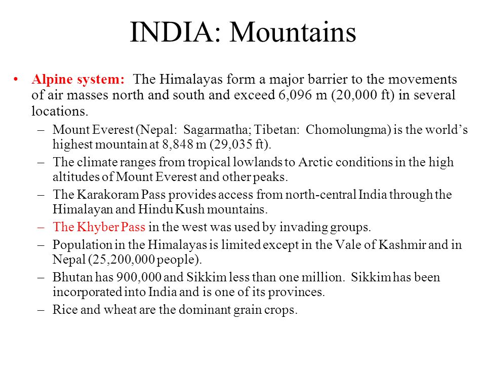 Mountains of India Mountainous Rim Hems in the country Has not prevented invasions however –Himalayas –Western Ghats –Eastern Ghats –Rainforests in th