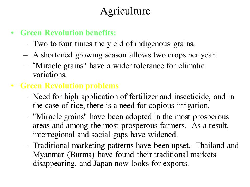 Green Revolution describes the development of extremely high- yielding grain crops that allow major increases in food production, particularly in subt