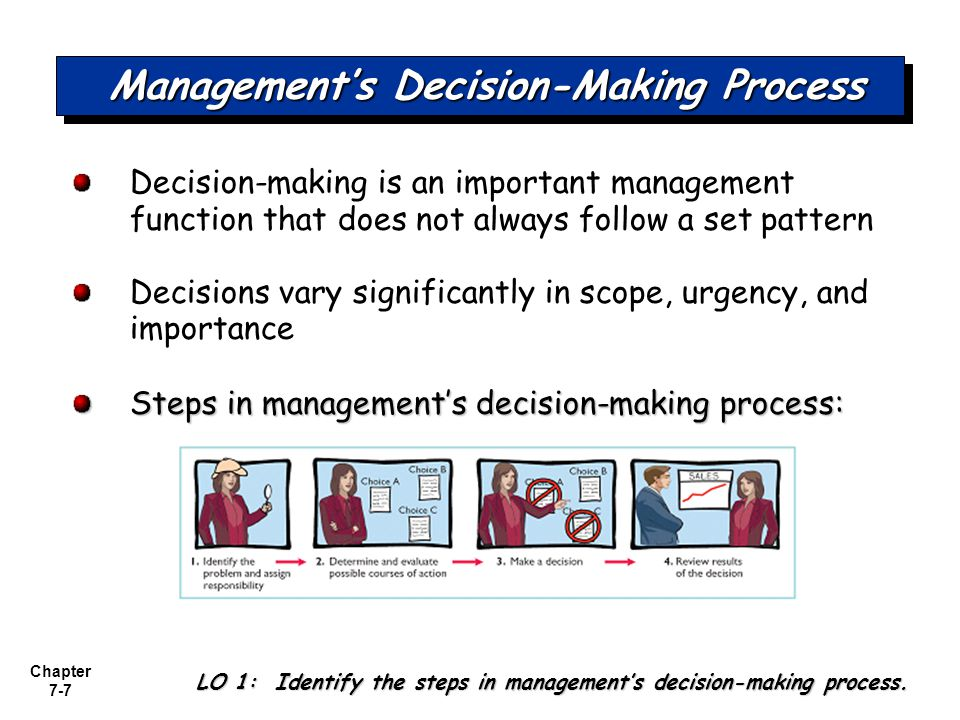 Chapter 7-18 Make or Buy Management must decide whether to make or buy components.