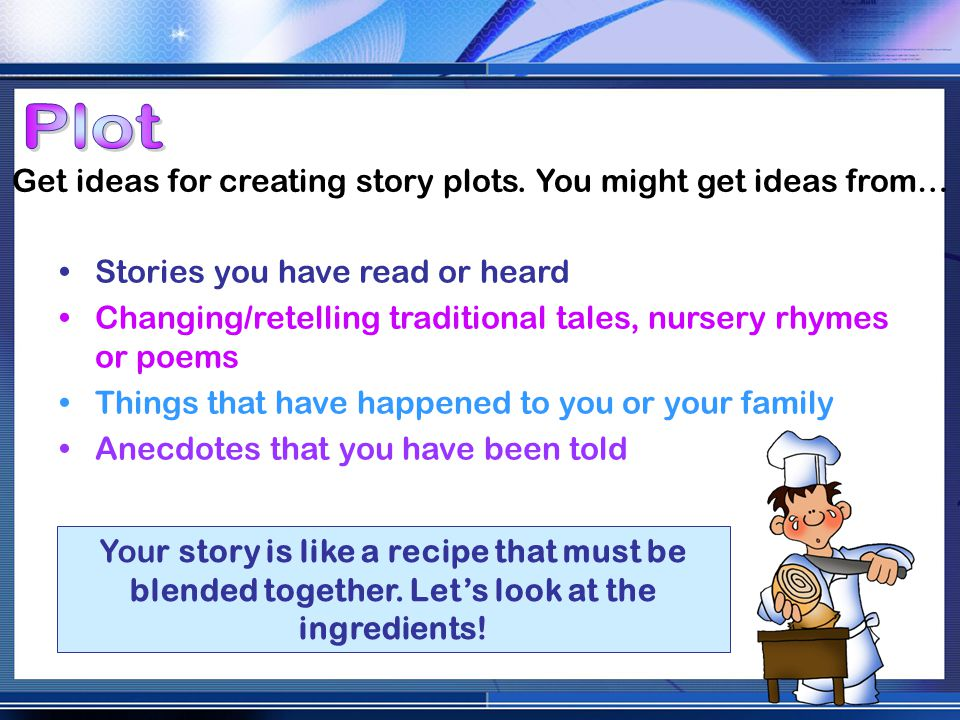 Get ideas for creating story plots.
