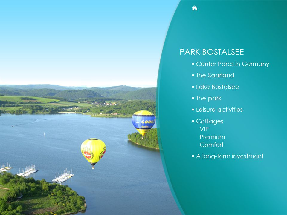 PARK BOSTALSEE  Center Parcs in Germany  The Saarland  Lake Bostalsee  The park  Leisure activities  Cottages VIP Premium Comfort  A long-term