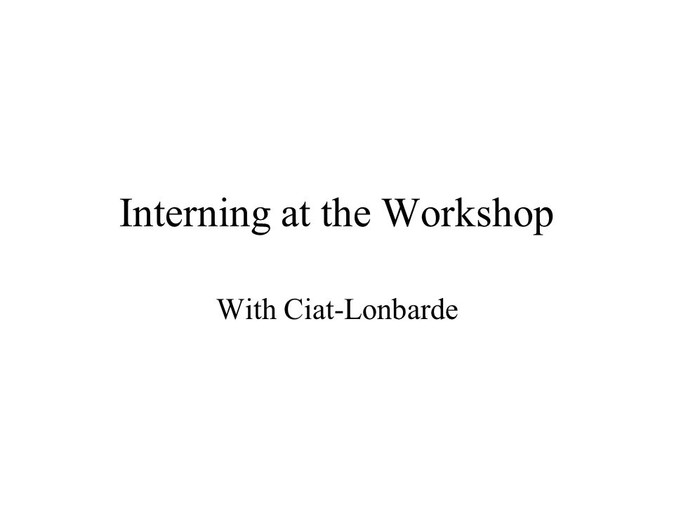 Interning at the Workshop With Ciat-Lonbarde