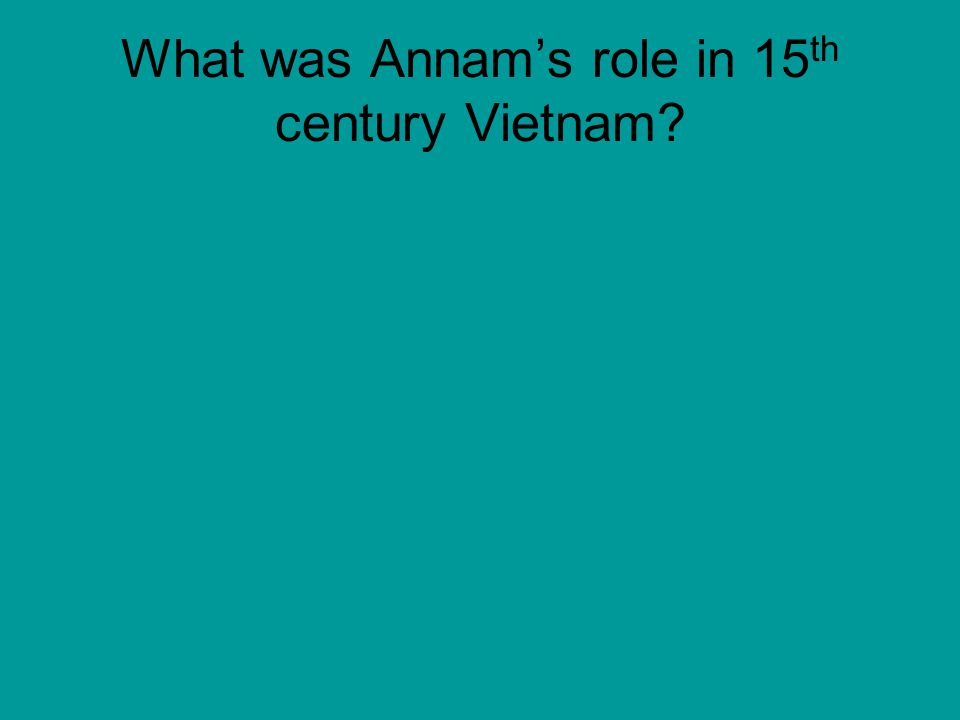 What was Annam's role in 15 th century Vietnam?