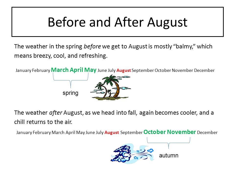 """Before and After August The weather in the spring before we get to August is mostly """"balmy,"""" which means breezy, cool, and refreshing. January Februar"""
