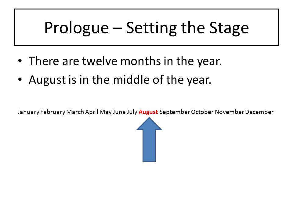 Prologue – Setting the Stage There are twelve months in the year. August is in the middle of the year. January February March April May June July Augu