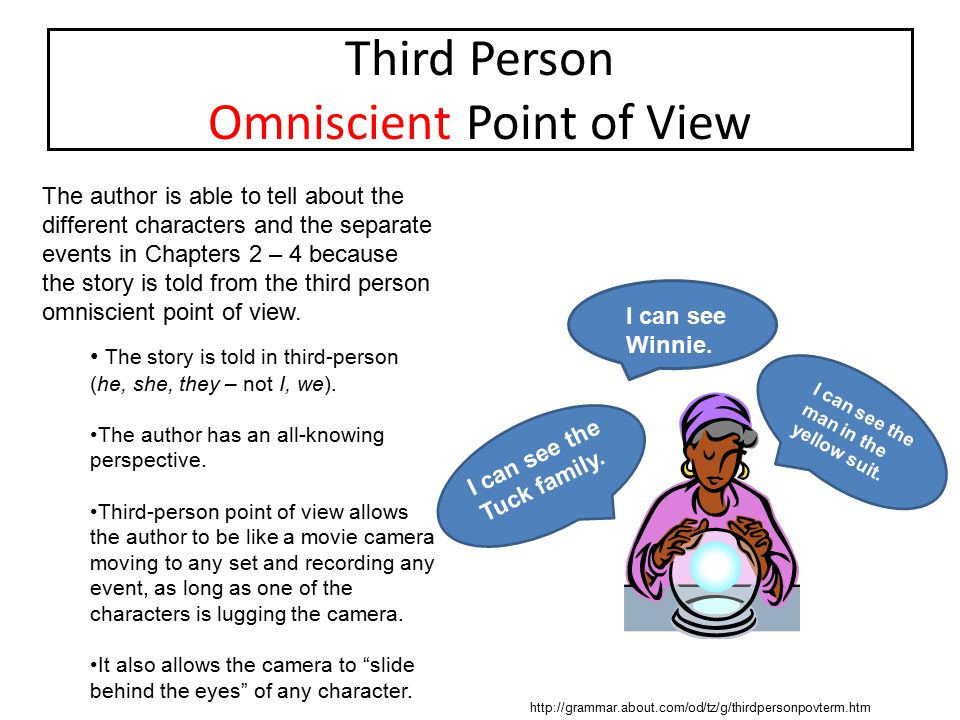 Third Person Omniscient Point of View The author is able to tell about the different characters and the separate events in Chapters 2 – 4 because the