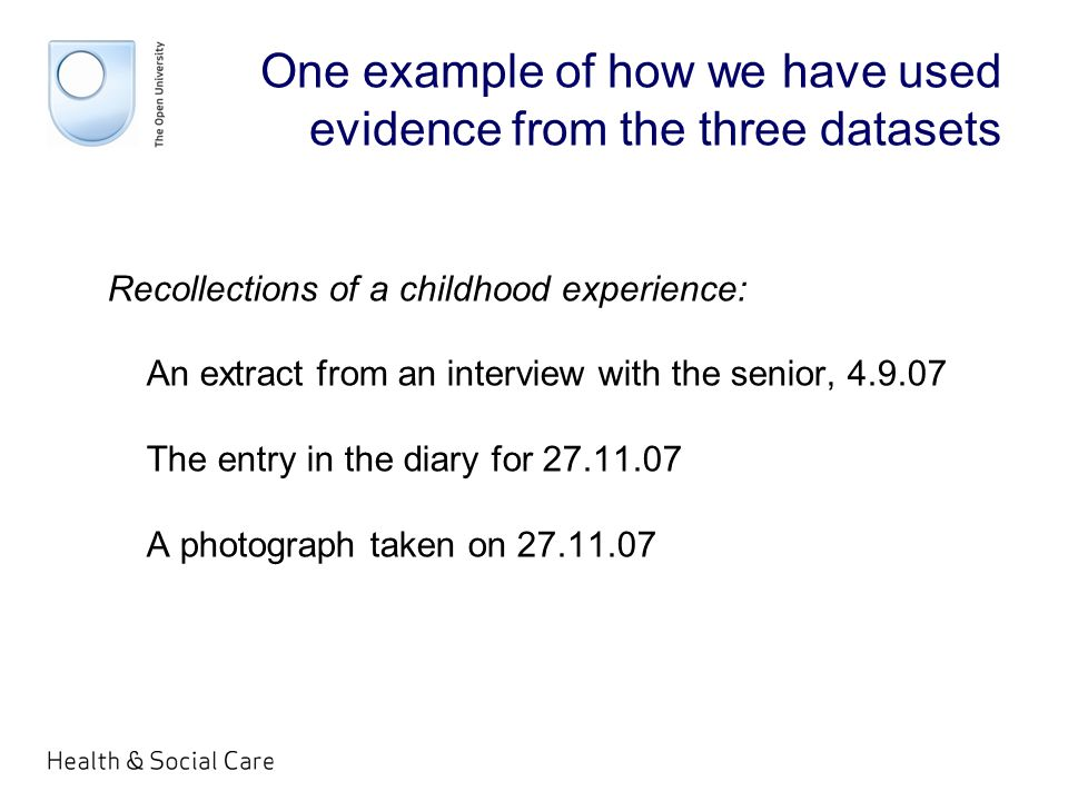 One example of how we have used evidence from the three datasets Recollections of a childhood experience: An extract from an interview with the senior, 4.9.07 The entry in the diary for 27.11.07 A photograph taken on 27.11.07