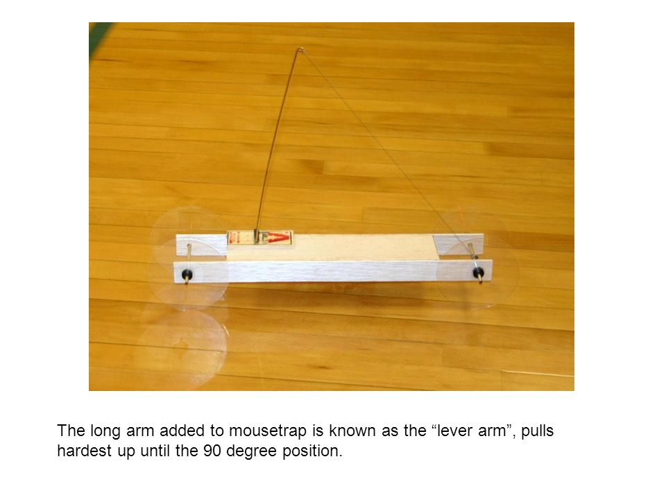 The long arm added to mousetrap is known as the lever arm , pulls hardest up until the 90 degree position.