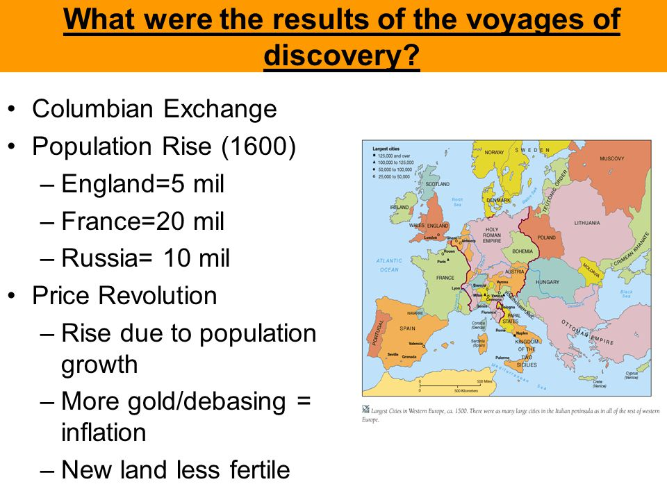 What were the results of the voyages of discovery? Columbian Exchange Population Rise (1600) –England=5 mil –France=20 mil –Russia= 10 mil Price Revol