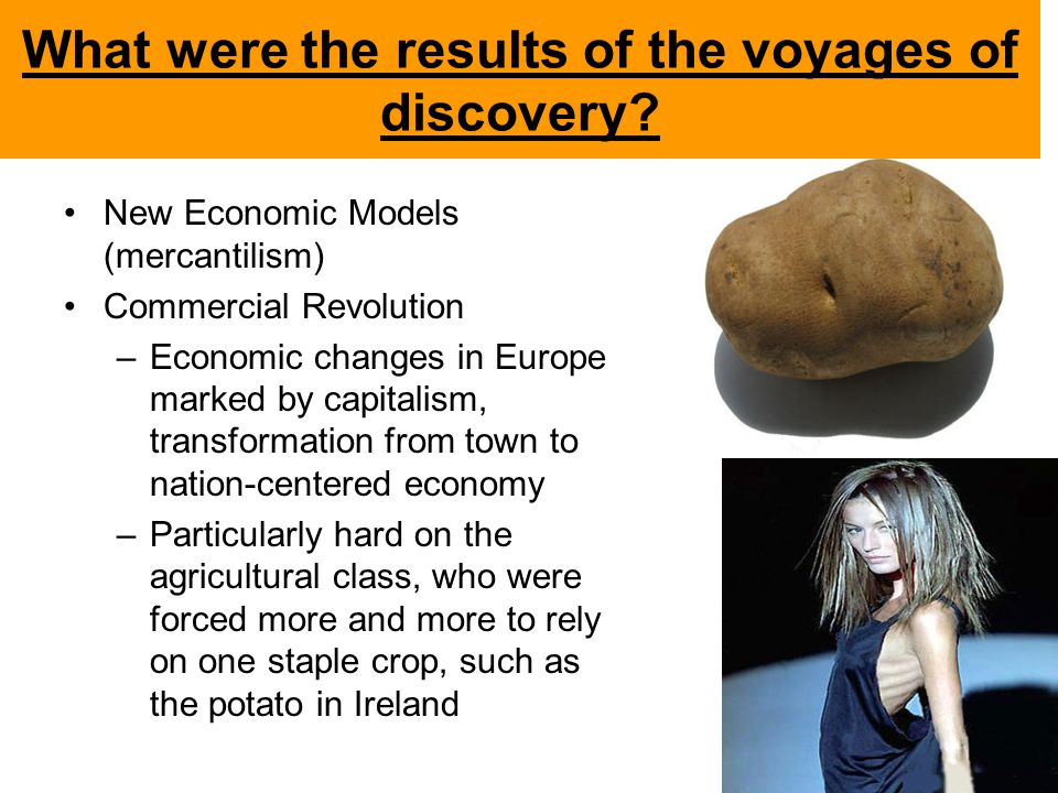 What were the results of the voyages of discovery? New Economic Models (mercantilism) Commercial Revolution –Economic changes in Europe marked by capi