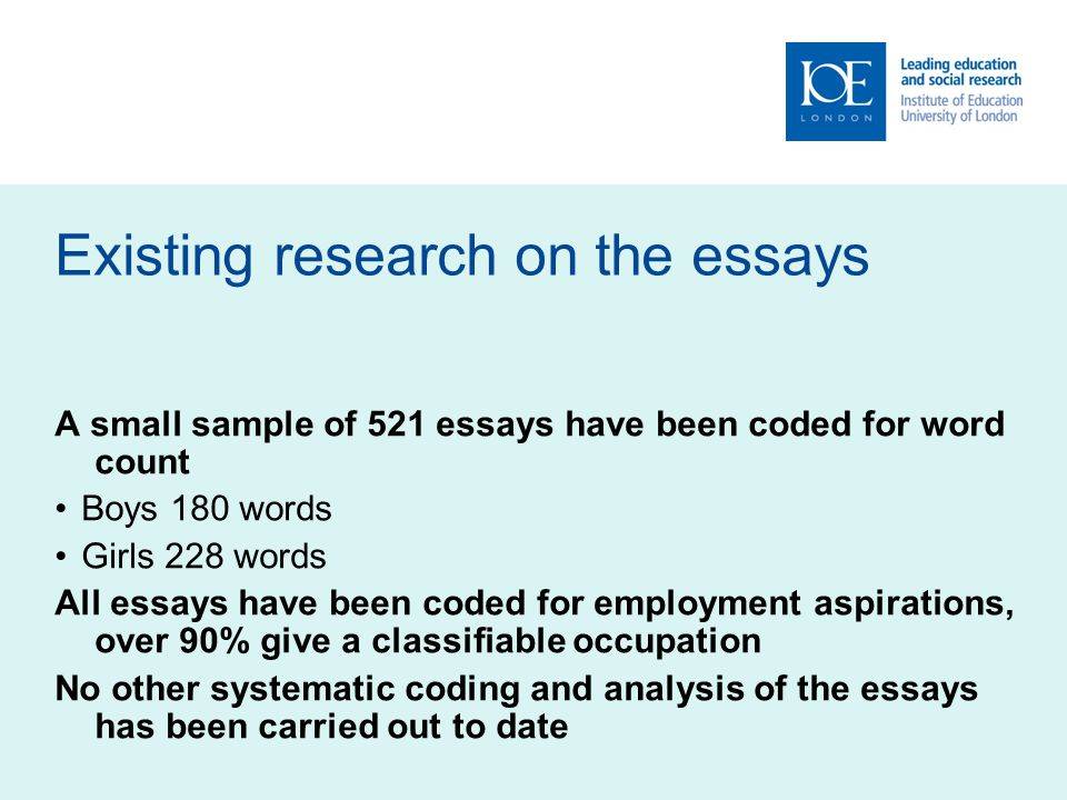 Gendered essays: conclusions In summary the essays appear to be very clearly gendered Even the minority of essays that are wrongly categorised by the discriminant function provide limited evidence of innovation or doing gender differently Despite the gendered nature of the essays, both boys and girls have aspirations for family life There appear to be subtle differences in how children 'do' gender depending on their social class There is much less evidence of social class than genderwithin the essays The use of discriminant function analysis is an innovative and useful tool in mixed methods research 27