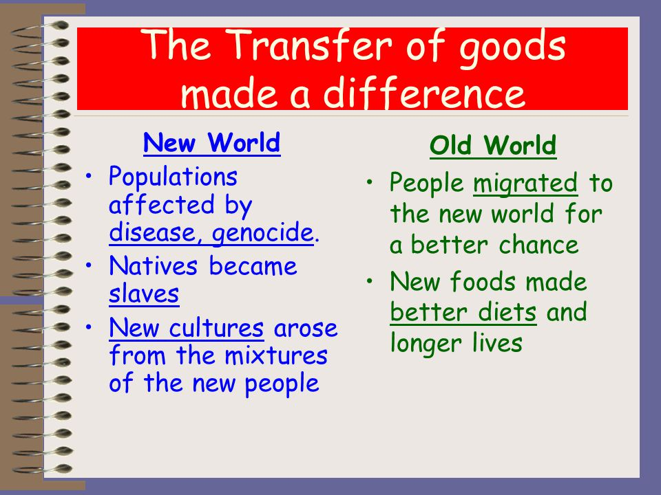 The Transfer of goods made a difference New World Populations affected by disease, genocide.