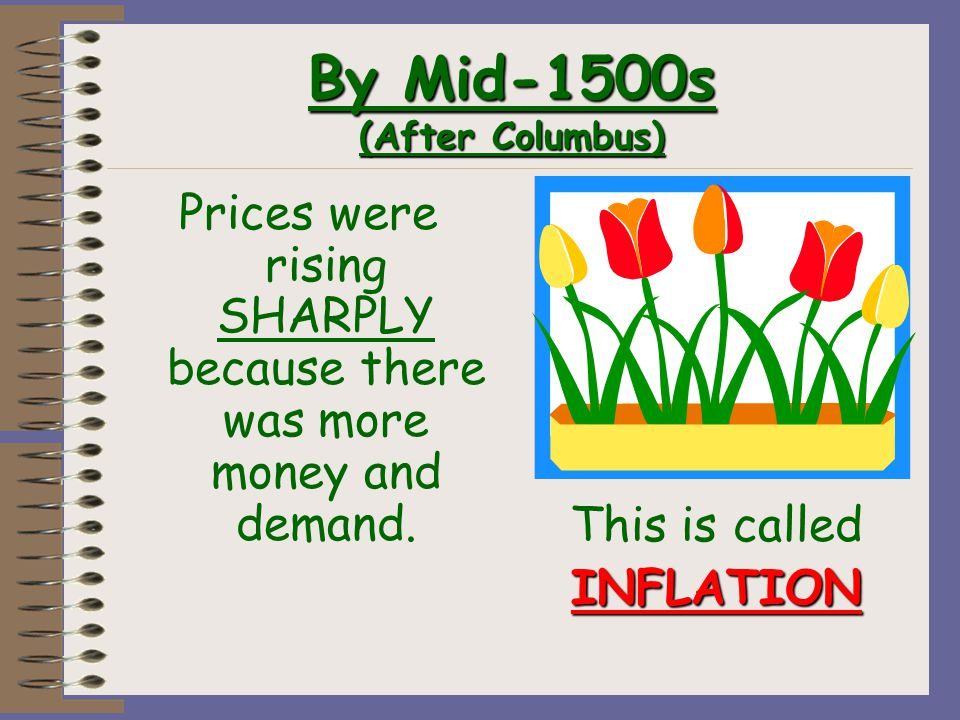 By Mid-1500s (After Columbus) Prices were rising SHARPLY because there was more money and demand.