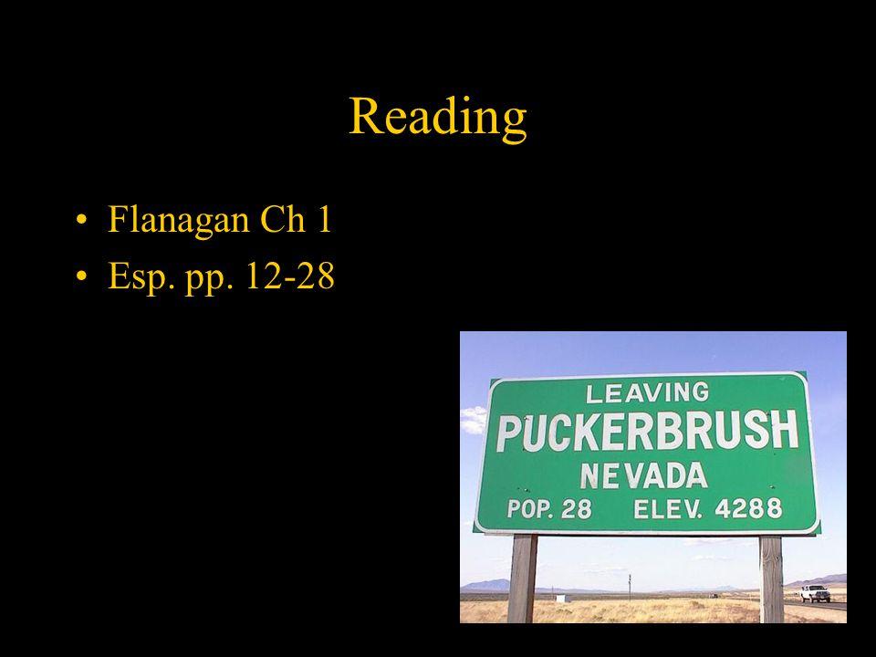 Reading Flanagan Ch 1 Esp. pp. 12-28