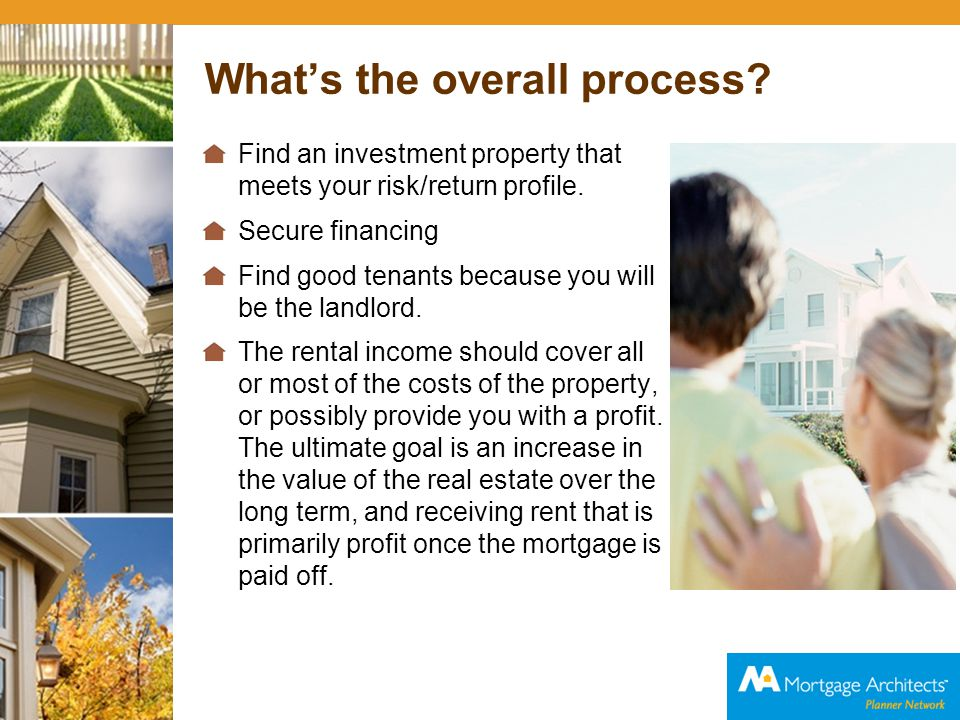 Your role; our role Find an investment property that meets your risk/return profile.